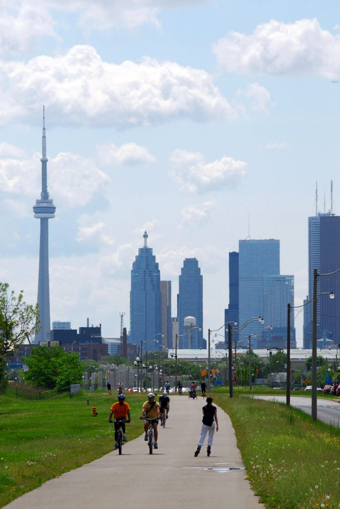 CN Tower Toronto city skyline with recreational trail, GoRoamin travel blog