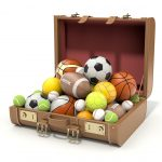 Suitcase filled with sports balls, GoRoamin Travel blog