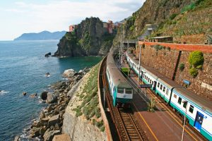 Italy. Cinque Terre. Train at station Manarola, GoRoamin Travel Blog