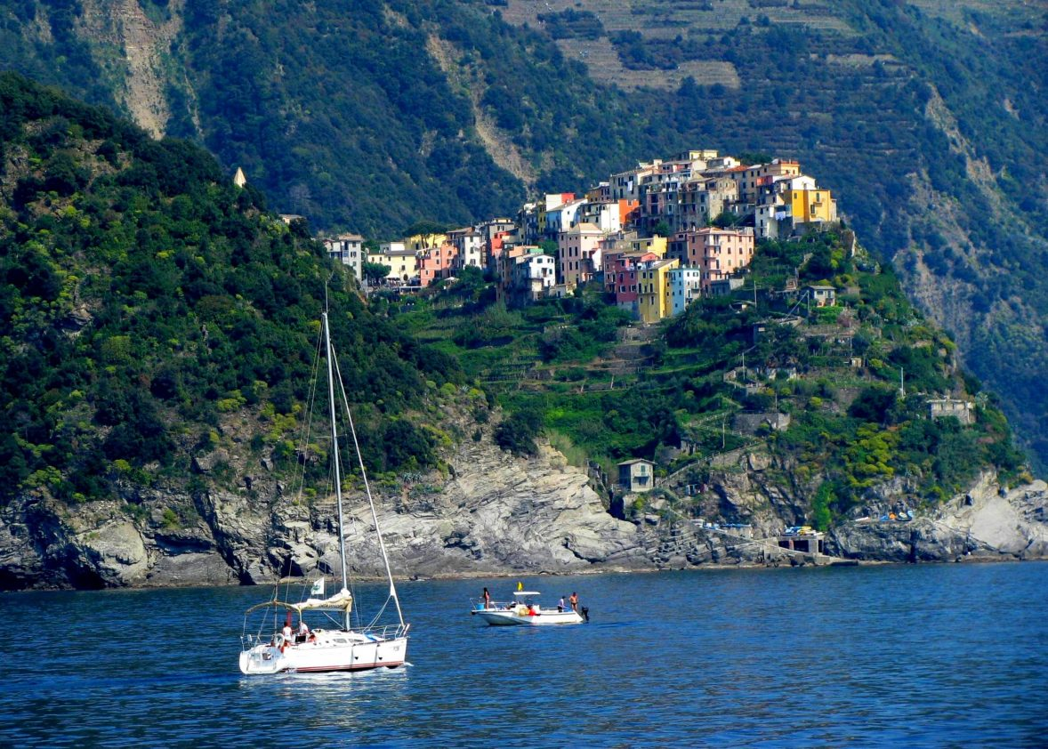 The Cinque Terre/Corniglia from the Ligurian Sea. GoRoamin Travel Blog