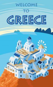 Greece travel poster, GoRoamin Travel Blog 10 steps to living your travel dreams